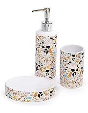 Bodico 3-Piece Stylish Mosaic Terrazzo Print Bathroom Accessory Set, 8 x 7 inches, Orange