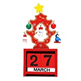 Creative Christmas Wooden Cubes Daily Perpetual Desktop Calendar Office Home Living Room Decoration (Red)