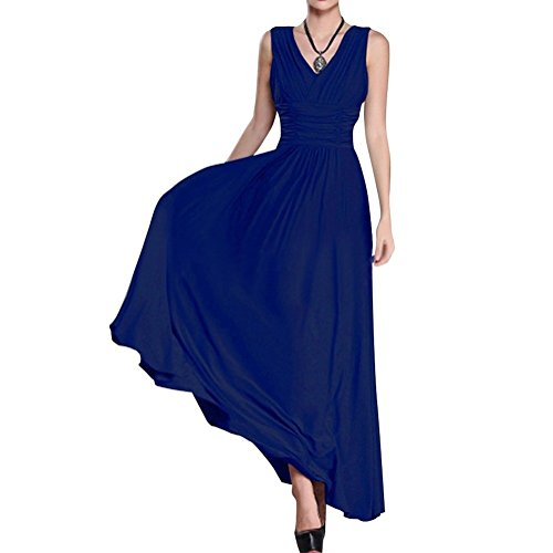 Riveroy Womens Formal V-Neck Ruched Long Prom Plus Size Evening Gown Dress 3XL Royal Blue