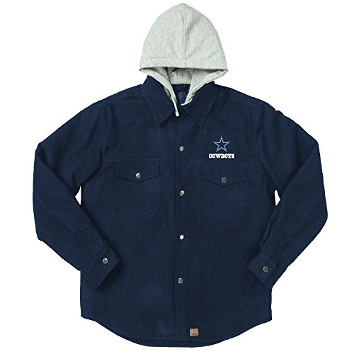 (NFL Dallas cowboys Dukane Canvas Quilt Lined Jersey Hooded Jacket, Navy, XX-Large)
