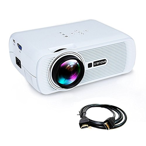 Crenova XPE460 LED Video Projector Home Projector with Free HDMI Support 1080P for Home Cinema Theater TV Laptop Game SD iPad iPhone Android Smartphone-White (Tv Hdmi Projector)