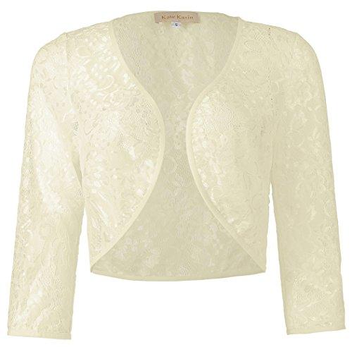 Kate Kasin Ladies 3/4 Sleeve Cropped Cardigan Lace Bolero Shrug (Champagne, M) KK430-3 by Kate Kasin
