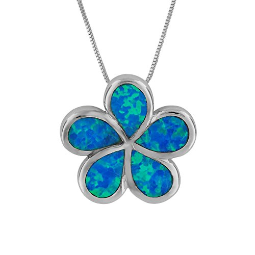 Sterling Silver Synthetic Blue Opal Plumeria Pendant Necklace, 16+2