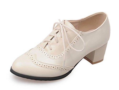 Femme Beige de Bloc Lacet à Moyen Mode Aisun Chaussures Ville Richelieu Talon 6wPqRRd1x
