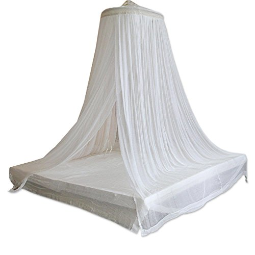 (NOVICA White Handmade Cotton Bed Canopy with Bamboo Ring, 'Ethereal Dream' )