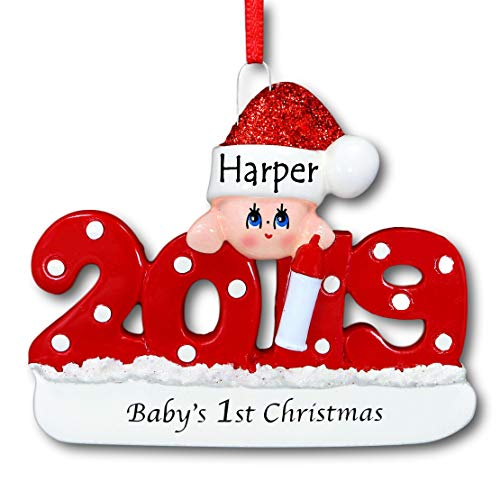 2019 Baby's First 1st Christmas Hanging Ornament Red with Polka Dots and Glittered Santa Claus Stocking Hat for Baby Boy or Baby Girl with Free Name Personalization