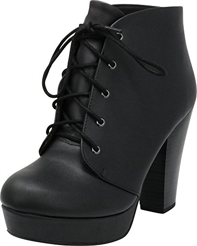 Cambridge Select Women's Lace-up Platform Chunky Stacked Heel Ankle Bootie,7.5 M US,Black Pu by Cambridge Select