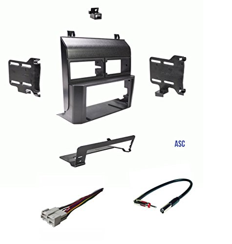 ASC Audio Car Stereo Dash Kit, Wire Harness, and Antenna Adapter for installing a Double Din Radio for some 1998-1994 Chevrolet GMC Pickup Truck SUV Suburban Blazer ()
