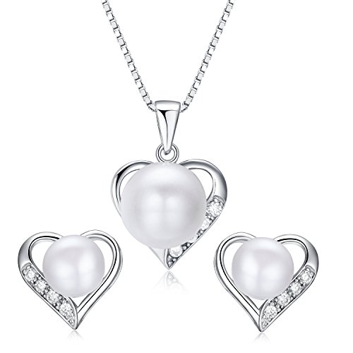 Heart Shaped Flawless Pearl Post Stud Earrings & Silver Chain Pendant Set| Impeccable Quality Natural, Flawless Freshwater Pearl & 925 Sterling Silver| The Best Jewelry Set Gift (1 | White Pearls)