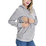 Women's Nursing Sweatshirt Long Sleeve Maternity Hoodie V-Neck Zip Breastfeeding Top with Pocket