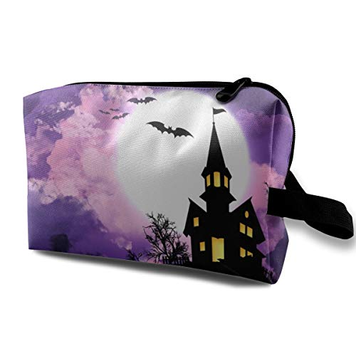 Multifunction Portable Travel Storage Bag Organizer For Women Girl Purple Halloween Scary Castle Cosmetic Bag Carrying Case, Waterproof Oxford Pencil Case