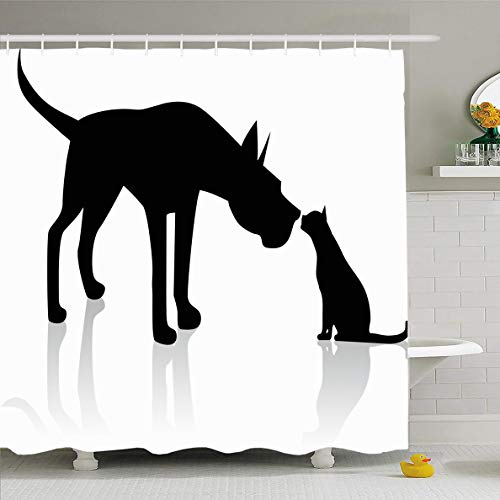 - Ahawoso Shower Curtain 72x72 Inches Sitting Great Dane Meets Cat Wildlife Dog Sniffing Black Hound Pointing Design Waterproof Polyester Fabric Set with Hooks