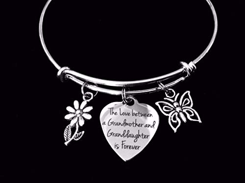 The Love between a Grandmother and Granddaughter is Forever Adjustable Bracelet Expandable Charm Bracelet Bangle Gift Daisy Butterfly Personalization Custom Option