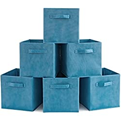 EZOWare Set of 6 Basket Bins Collapsible Storage Organizer Boxes Cube for Nursery Home - Niagara Blue