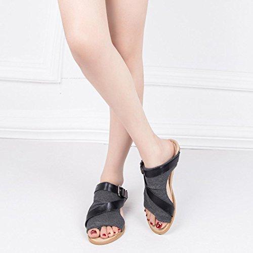 Boca con Zapatos Sandalias Plana Bajo TacóN De ¡Liquidación Sandalias Una De Boca Moda Pescado Base Zapatos Mujer De Pescado Negro Mujeres twqxZSX