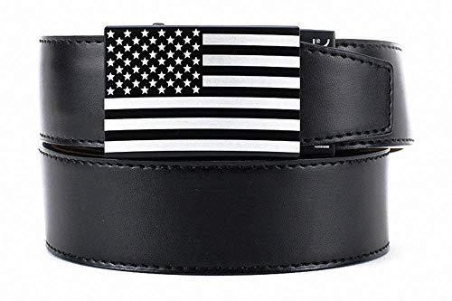 USA Heritage Black Leather Dress Belt for Men with Adjustable Ratchet Buckle - Nexbelt Ratchet System Technology
