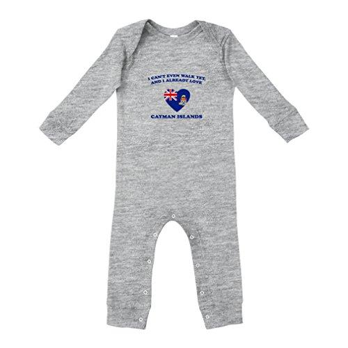 Can't Walk Already Love Cayman Islands Cotton Long Sleeve Envelope Neck Unisex Baby Legged Long Rib Coverall Bodysuit - Oxford Gray, 12 ()
