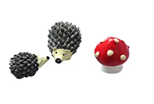 CJESLNA Miniature Garden Fairy Ornament Hedgehog & Mushroom Set