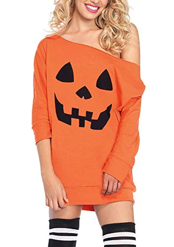 Halloween Women Pumpkin 3/4 Sleeve Sweatshirt Orange Off Shoulder Pullover Tops 2XL