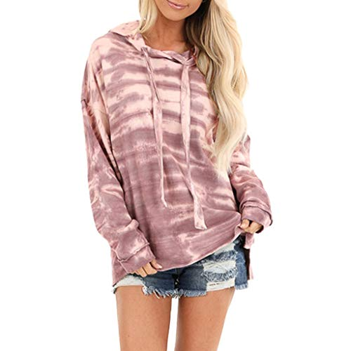 Aunimeifly Womens Casual Hoodie Long Sleeve Drawstring Hooded Sweatshirt Solid Pullover Jumper Loose Tops Pink (Best Maternity Jeans 2019 Uk)