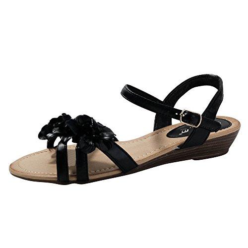 Damen Sandalen Sandaletten Blume Keilabsatz Glitzer ST105 Schwarz