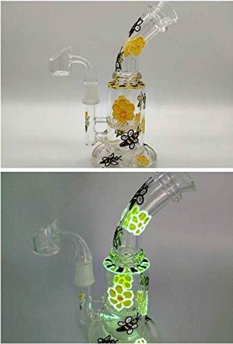 Aduben 7.5 Inch Tall Handmade Art Craft Glass Bee Flower Decoration Glow in The Dark