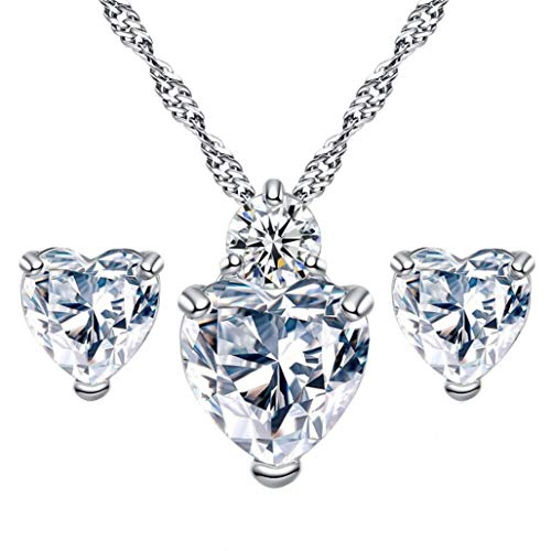 OldSch001 Women's Fashion Jewelry Sets,Crystal Heart Necklace Earrings Set, (Glass 3 Hearts Necklace)
