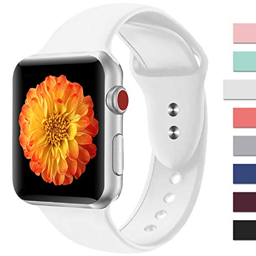 Misker Sport Band Compatible for Apple Watch 38MM 42MM,Choose Proper Color & Size-38MM S/M,38MM M/L,42MM S/M or 42MM M/L,Soft Silicone Strap Replacement Wristbands For Apple Watch Sport Series 4/3/2/1