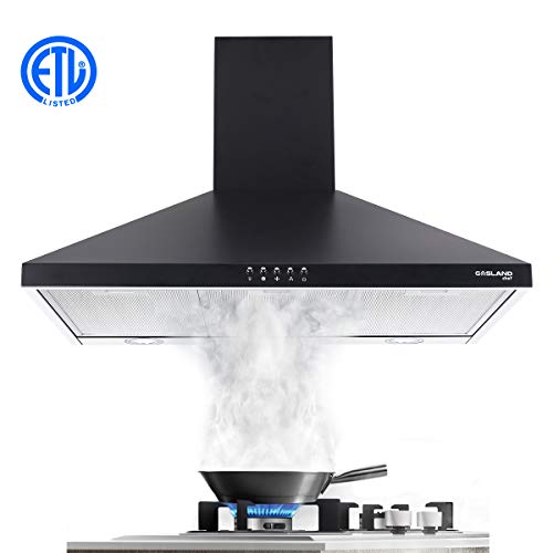 Range Hood, Gasland Chef PR30BP 30″ Wall Mount Range Hood Black, 30 Inch Black Stainless Steel Range Hood Fan, 450CFM 3 Speed Professional Quiet Motor, Premium Push Button, Aluminum Filter, 2 LED Lamp