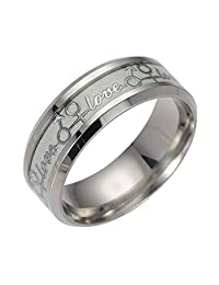 Ginger Lyne Collection Love Blue Glow in The Dark Stainless Steel Comfort Fit Wedding Band Ring