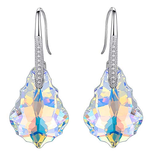 (EleQueen 925 Sterling Silver CZ Baroque Hook Drop Earrings Iridescent Aurora Borealis AB Made with Swarovski Crystals)