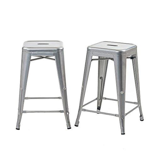 Buschman Set of 2 Grey 24 Inch Counter Height Metal Bar Stools, Indoor/Outdoor, Stackable