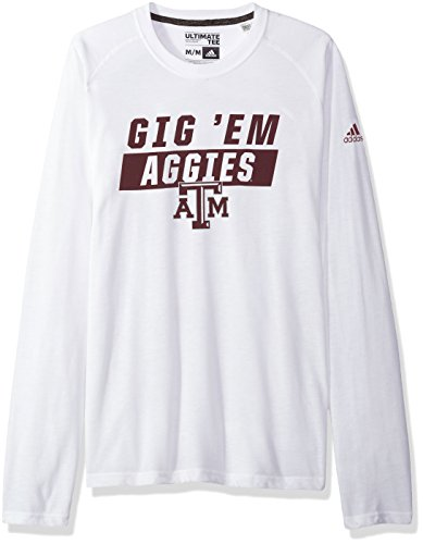 - adidas NCAA Texas A&M Aggies Mens Block Statement Ultimate L/S Teeblock Statement Ultimate L/S Tee, White, Small