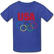 THBYU Kid's USA 2016 The Olympic Games Short Sleeve Shirt Red XL
