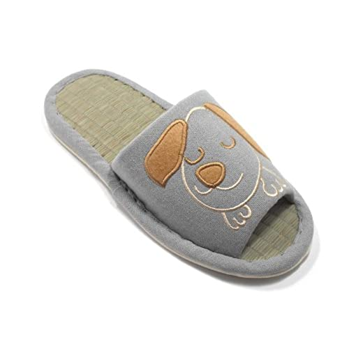 KNP26001T-KNP Women Bamboo Cotton House Slippers With Dog Print Including Three Colors and Four Sizes 26001T
