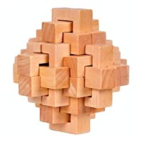 La Dran Wood Cube Puzzle Brain Teaser Toy Games for Adults / Kids
