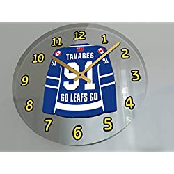 Hockey Legends Wall Clocks - 12 X 12 X 2 N H L Jersey Themed Legend Clock (J.Taveres 91 TOR Edition)