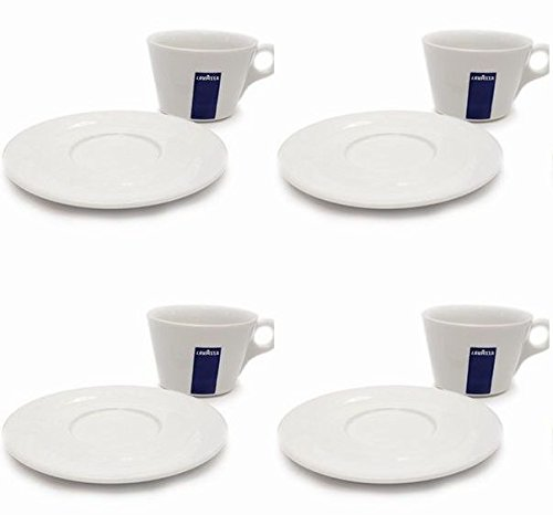 4 X Lavazza Cappuccino/Coffee/Americano/ Porcelain Cups and Saucers-Capacity cc 250, height mm 68 LH-LGHZ-8Z4M