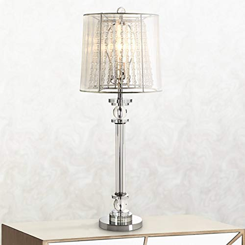 (Isetta Traditional Console Table Lamp Metal and Glass Column Double Organza Sheer Shade for Living Room Family Bedroom - Barnes and Ivy)