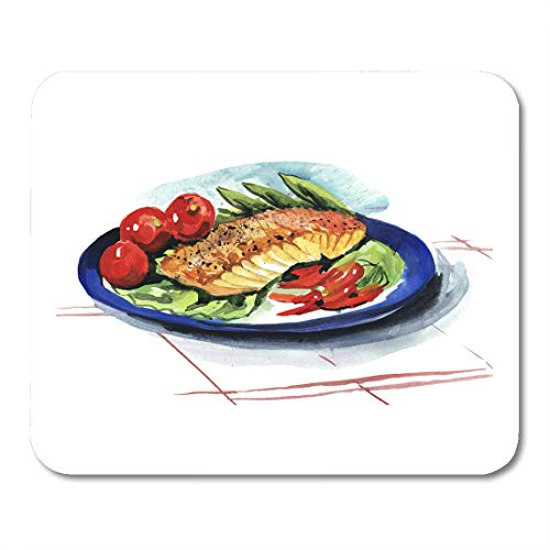 Semtomn Mouse Pad Watercolor Food Fish Dish Red Plate Dining Meat Salmon Mousepad 9.8
