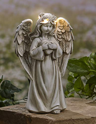 The Lakeside Collection Garden Angels with Solar Halos - Heart (Statue Angel Cheap)