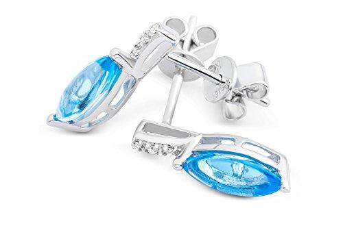 Miore - Boucles d'oreilles pendantes - Or blanc 9 cts - Topaze - MKW9089E