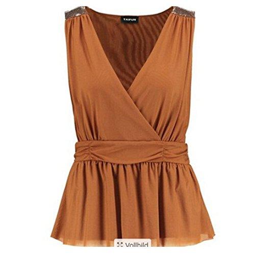 Zeagoo Women's V Neck Sleeveless Sequin Splicing Tank Top Dress Vest Blouses 41WsfOVIdeL