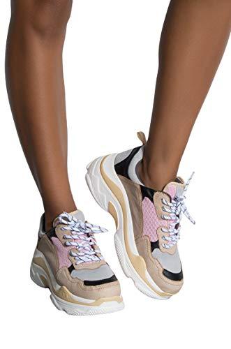 AKIRA Womens Pink Tan Colorblock Chunky Retro Dad Sneaker Shoe Trainers