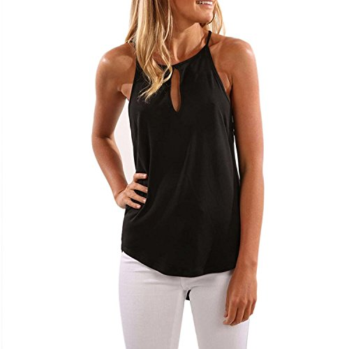 Elegante Vest Shirt Nero Minetom Allentato Estate Canotta Gilet Donne Crop Tops Casual Maniche Camicetta Sling Halter Senza Maglietta Blusa T qwOpFHwER