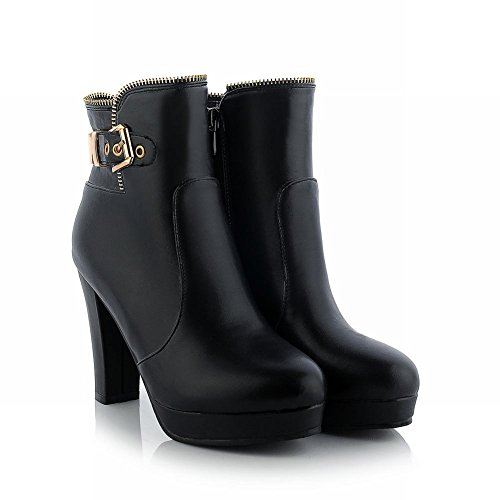 Latasa Womens Elegant Buckle Strap Zipper High-heel Platform Ankle-high Dress Boots Black l6mHHwGXpi