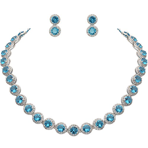 EVER FAITH Silver-Tone Round Cubic Zirconia March Birthstone Row Necklace Earrings Set Aquamarine Color