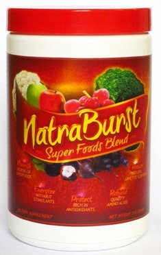 Natraburst Super Foods Blend - Nourish, Energize, Protect, Rebuild, Reduce. Natra burst is a premium, nutrient dense food source consisting of a wide variety of the highest quality raw materials. No Gluten, MSG, Soy, Artificial Flavors or Sweeteners. Plus 8g of protein per serving. Easy to mix powder. Berry flavor. Net Weight 17.5oz - 30 scoops/1 month supply