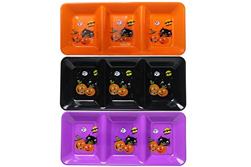 Halloween Party Serving Dishes (Halloween Themed Rectangular Tray Three Colors Orange/Black/Purple)