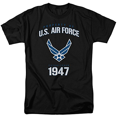 - Trevco Men's Air Force Short Sleeve T-Shirt, Property Black, Large